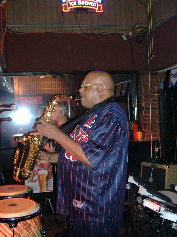 Huggy Bear Blowing on the Sax Live July 4 2008 at Sportstime