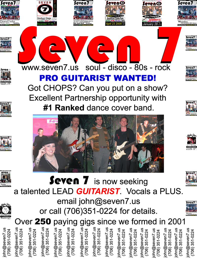 athens dance band seven 7 seeking pro guitarist/lead guitar player for paying gigs in and around atlanta georgia